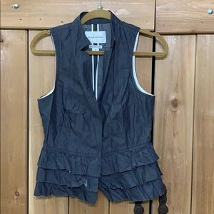 Banana Republic Denim Ruffle Peplum Vest sz 4